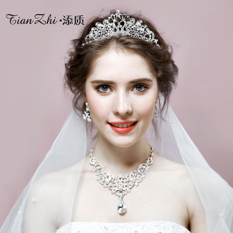 Add Quality Bridal Tiara Three Piece Korean Necklace Earrings Crown Hair Accessories Wedding Dress