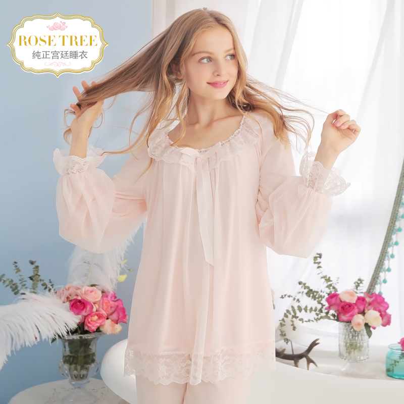 Rosetree Princess pajamas autumn long-sleeved lace retro Palace pajamas  suit Korean home service suits 49c5b0654