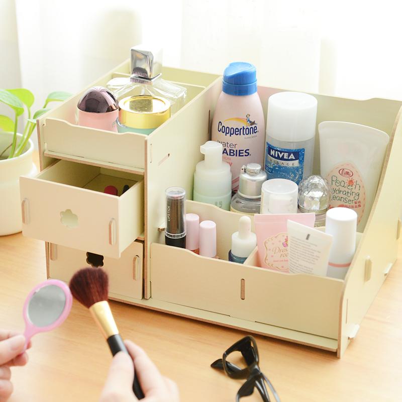 特价zakka木质桌面复古化妆品收纳盒 大整理架储物盒收纳箱置物架