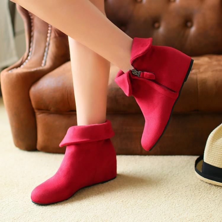 婚鞋女2017新款冬季粗跟结婚靴红色孕妇低跟新娘鞋棉靴子红鞋短靴