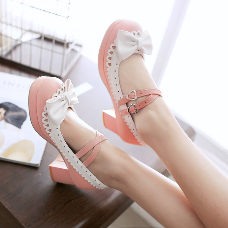 Bow cross strap princess girl rough with soft sister loli lolita Lolita student doll shoes