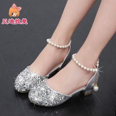 f261da2045 Girls sandals 2019 new children's fashion bag top leather shoes crystal  shoes in the big children's high-heeled princess shoes