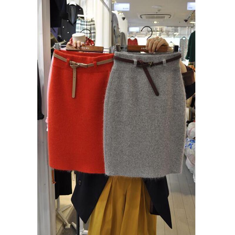 半身裙秋冬款针织裙长裙开叉大码显瘦松紧腰包臀裙冬季半截裙包裙
