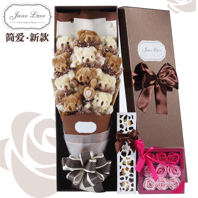 Gấu Bouquet Hộp Quà Tặng Búp Bê Hoa Phim Hoạt Hình Bó Hoa Gấu Bông Búp Bê Hoa Creative Bouquet Món Quà Sinh Nhật Cô Gái