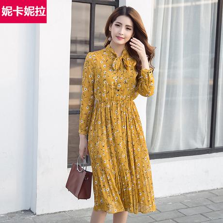   Цена 1301 руб   Платье весенний и осенний 2020 новый цветочный корея длина тончайший печать длинный рукав шифон платье женщина
