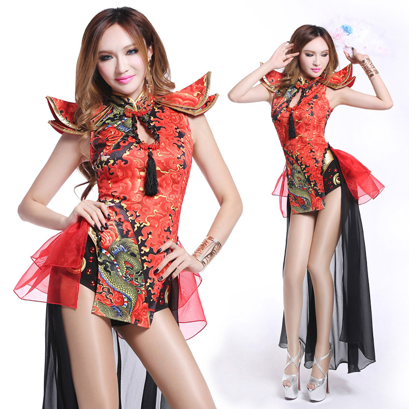 41f13157b Dance yiba new nightclub bar retro Chinese style sexy dj singer costume  atmosphere DS collar dance clothing