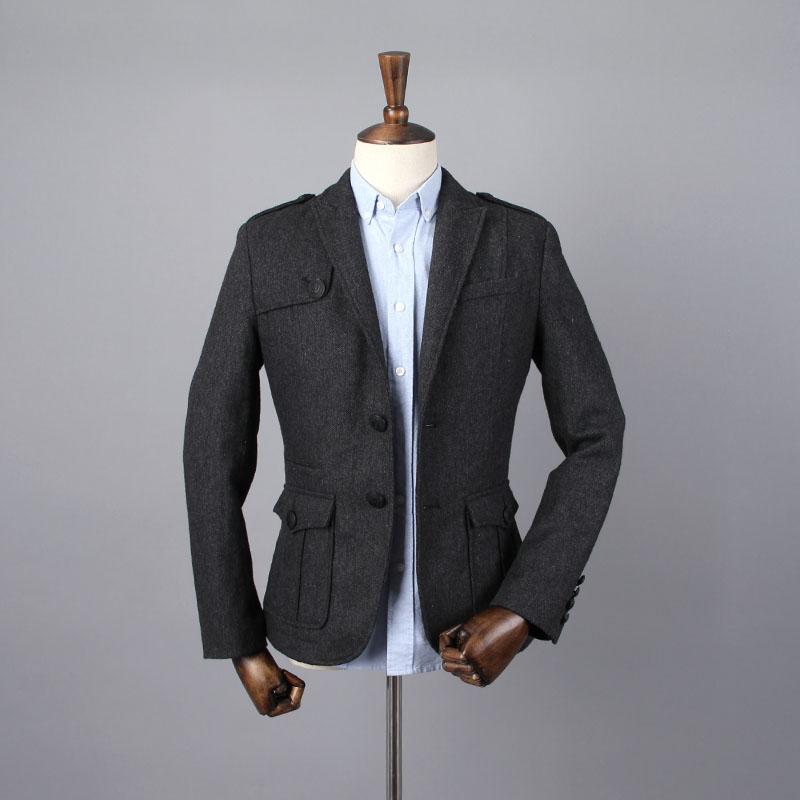 外贸原单男装 国内专柜撤柜 秋款男士韩版修身加绒毛呢小西服外套