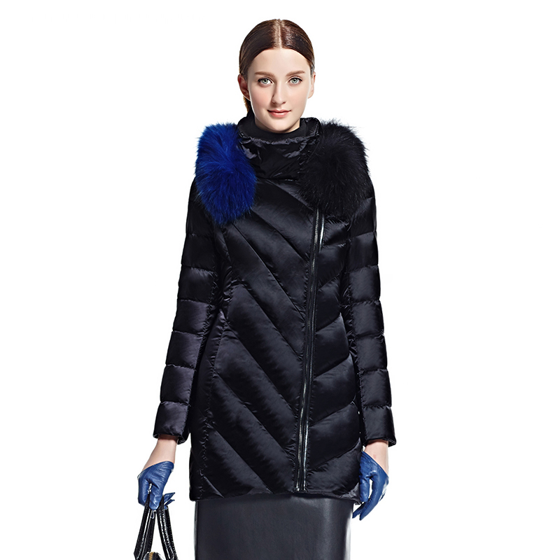 艾莱依反季冬韩版修身中长款渐变毛领貉子羽绒服女ERAL60426042D
