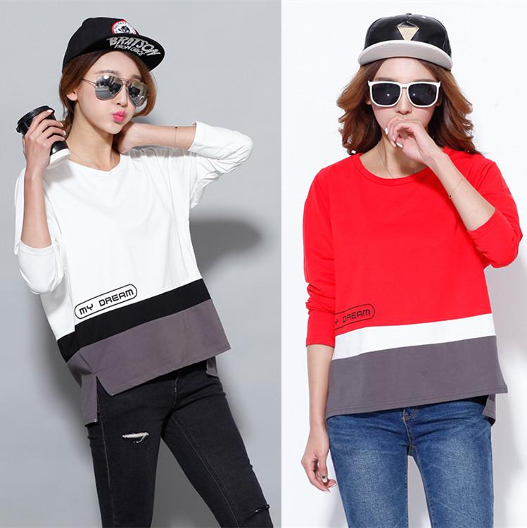韩版女装潮t恤女 长袖宽松显瘦百搭上衣拼色格子打底衫女圆领套头