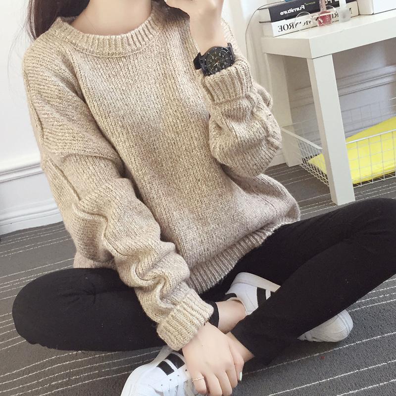 2015冬装新款女装韩版秋冬厚打底衫套头毛衣外套宽松针织衫女上衣