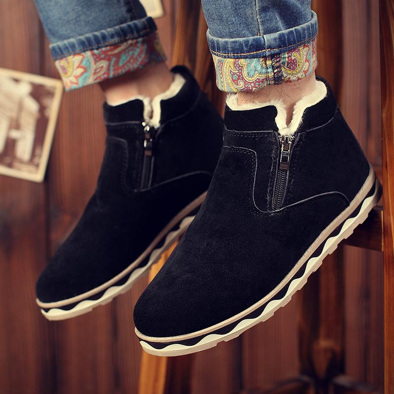 冬季加绒保暖男鞋短筒靴男雪地靴男士棉鞋情侣棉靴韩版潮流男靴子