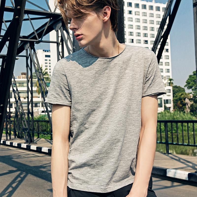 男士短袖T恤夏季宽松纯棉圆领纯色大码青少年半袖上衣打底衫夏天