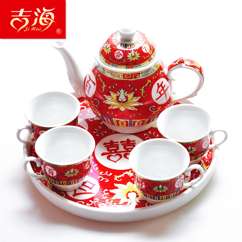 Wedding Tea Set Gift China Red Offer Cup Creative Ceramic Teapot