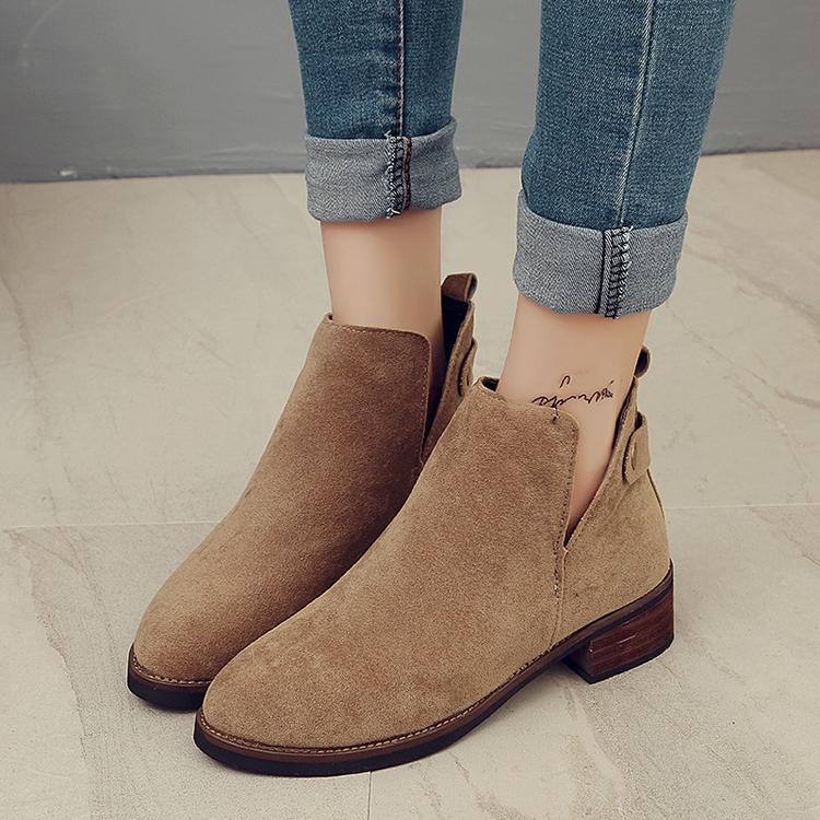 春秋季蕾丝真皮短靴镂空平底洞洞鞋磨砂皮内增高女网靴单靴大码鞋