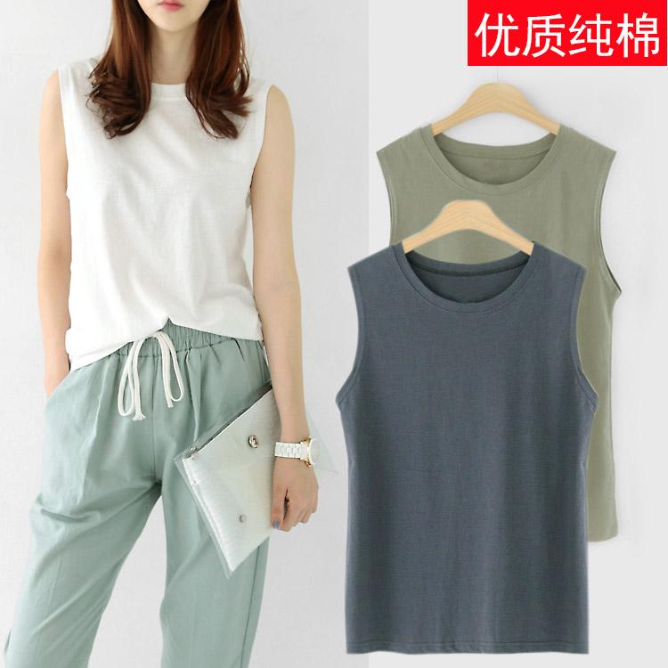 Корея летний костюм новый раунд воротник свободный безрукавный жилет t футболки женщина лето верхняя одежда хлопок куртка длина свитер
