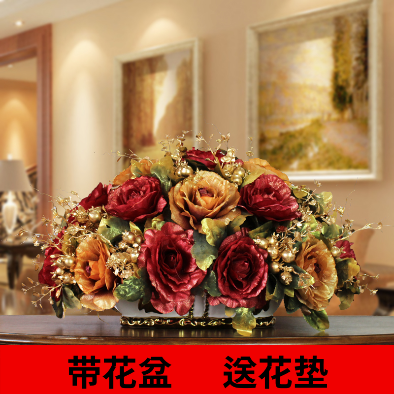 Flower Rich European Simulation Set Fake Rose Silk Living Room Table Decoration Bouquet