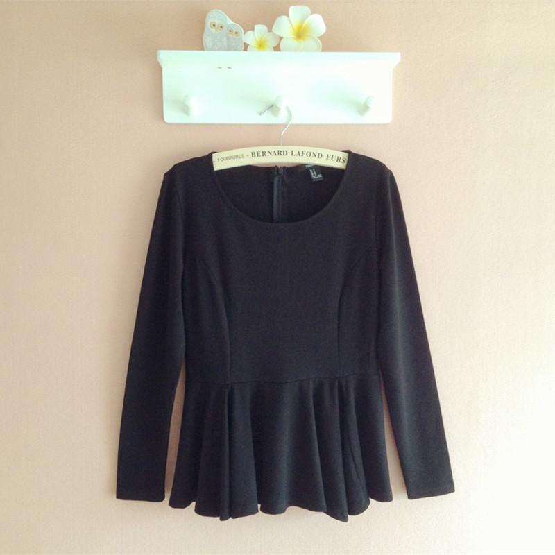 欧洲站16春装新款女时尚带项链喇叭袖裙摆小衫韩版宽松圆领打底衫