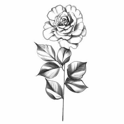 Billion Color Soaring Black And White Flower Tattoo Sticker Small