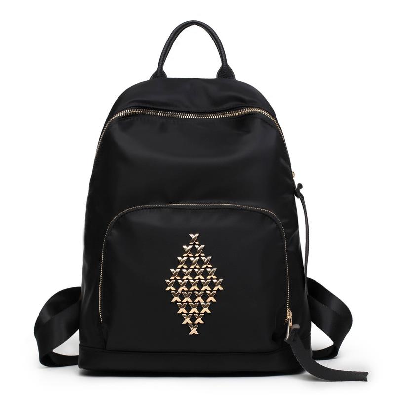 Lai Mei 2018 New Oxford Shoulder Bag Handbags Korean Version Of The Tide Rivets Leisure Backpack