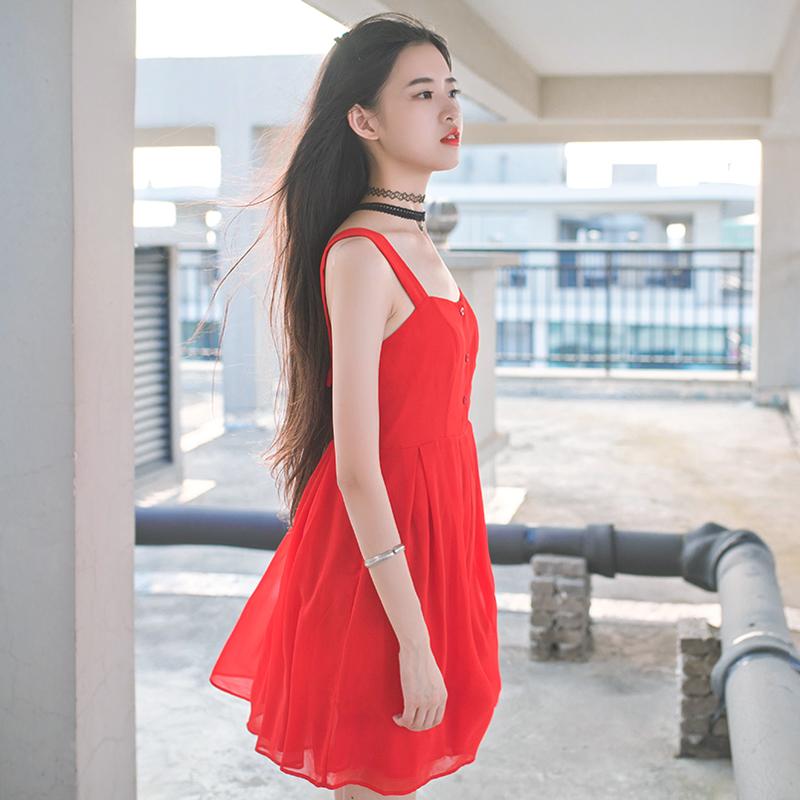 LIVIA 波西米亚 沙滩裙 性感露背吊带低胸大散摆A字型连衣裙 薄棉