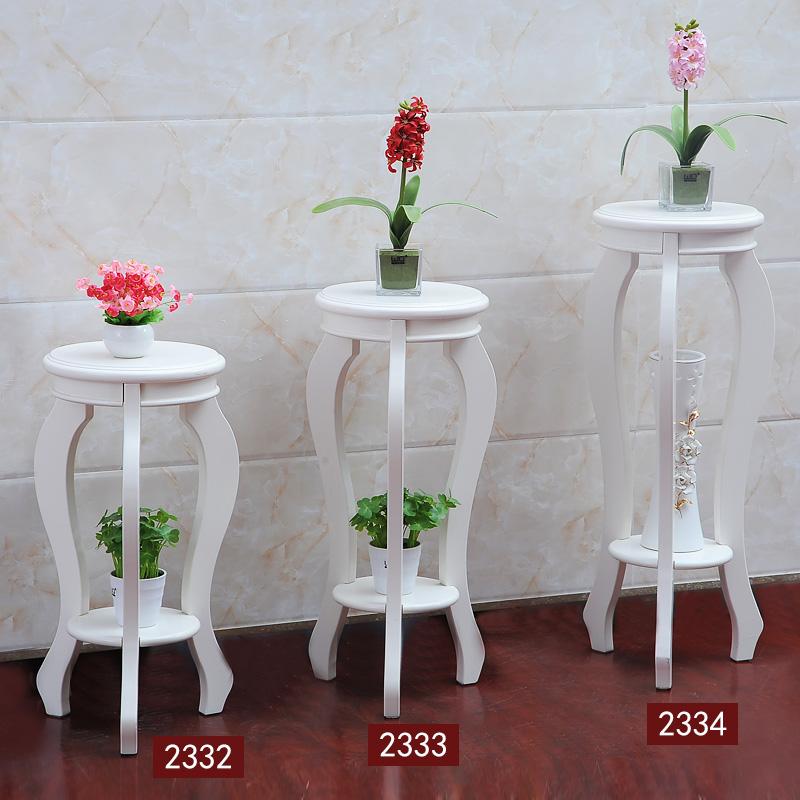 法式花架实木落地欧式置物架多层简约白色放花盆架子北欧角几方几