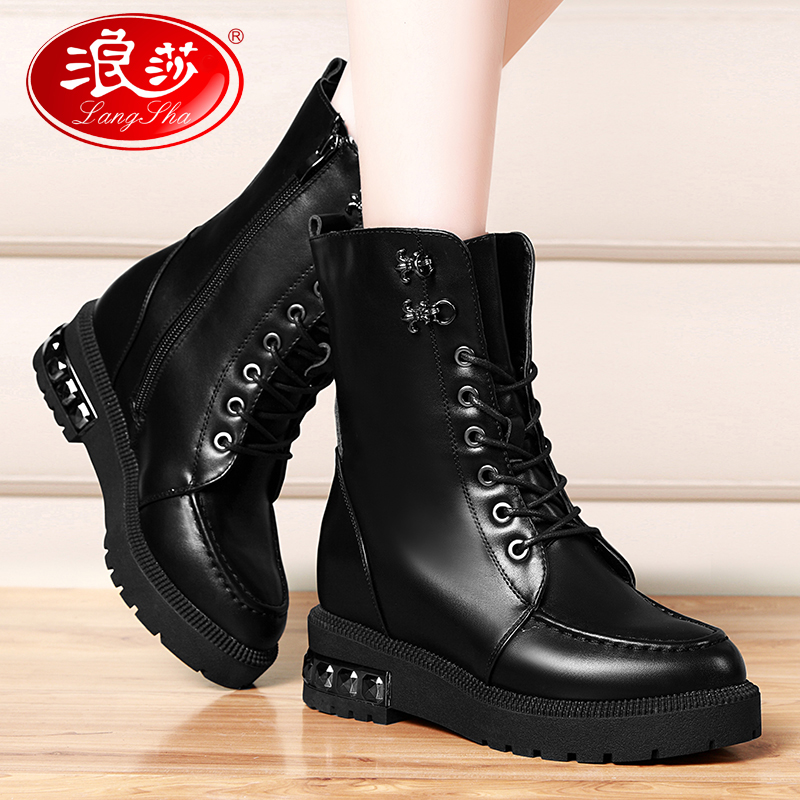 女鞋子冬季2016新款女靴百搭加绒韩版短靴平底马丁靴内增高中筒靴