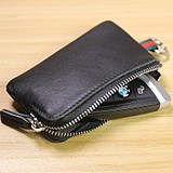 Key case men's cowhide mini car key case multifunctional lady card case coin purse Korea