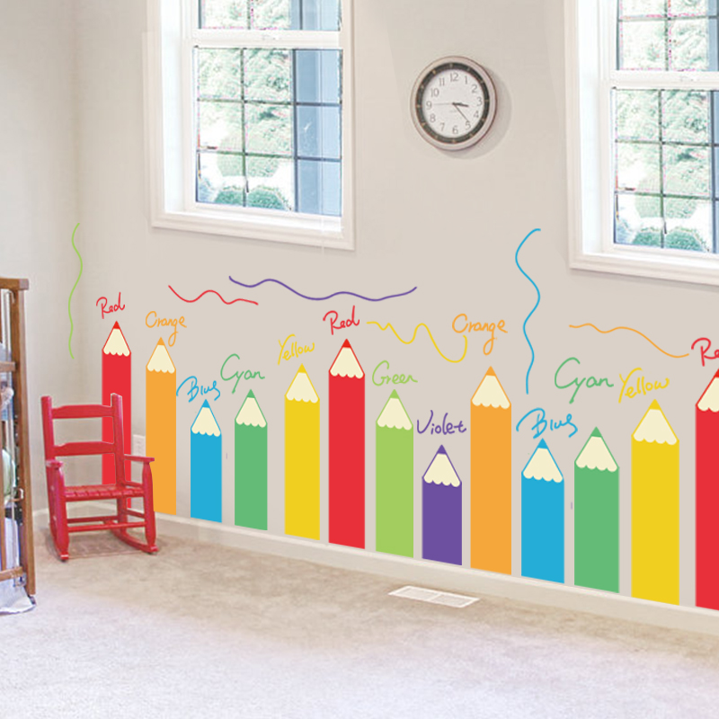 Cartoon colorful painting brush children 39 s room for Preschool wall art ideas