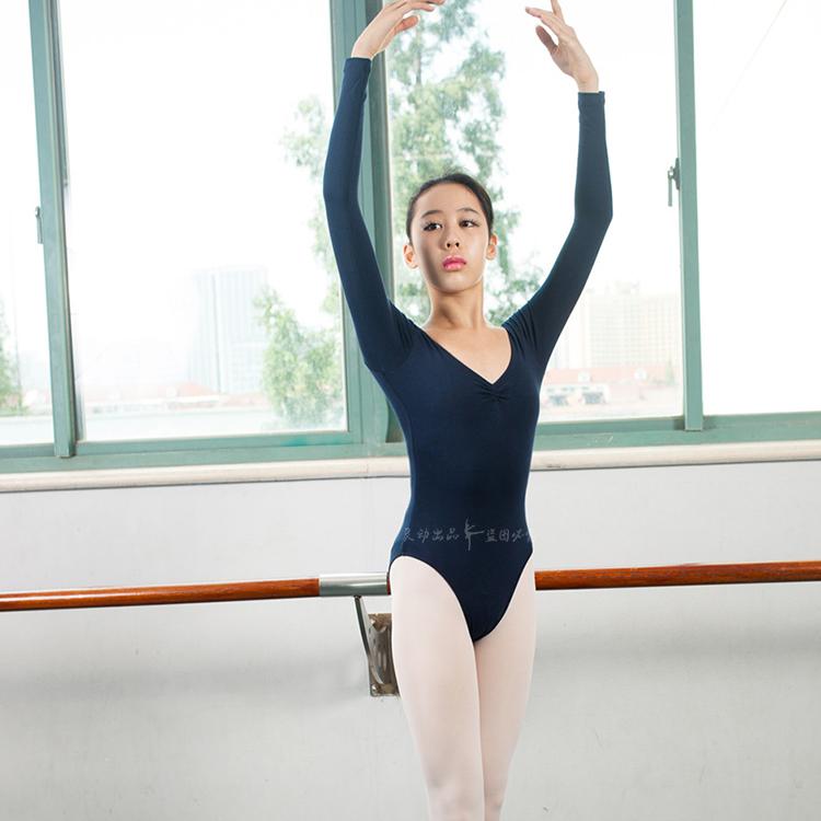 促销专业芭蕾舞蹈考级练功服装女式连体衣长袖成人形体舍宾演出服