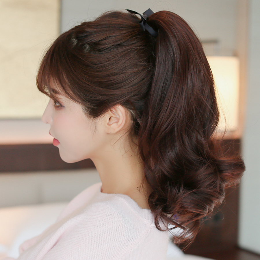 Hairpiece Ponytail Women Long Curly Hair Strap Style Pear Fake Wave Realistic In The Paragraph Short Wigs Piece