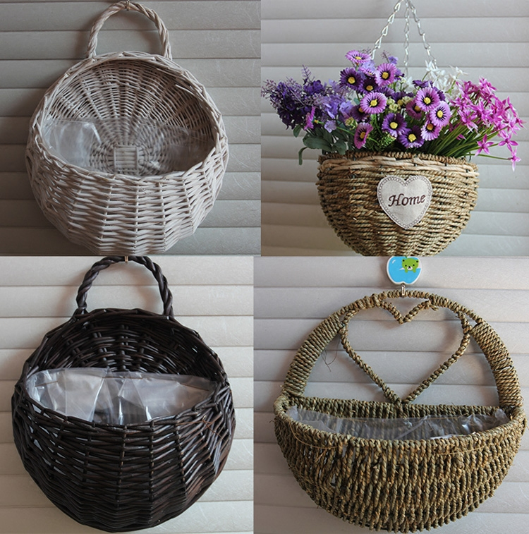 Wicker Woven Basket Flower Pots Wall Hanging Rattan Mounted