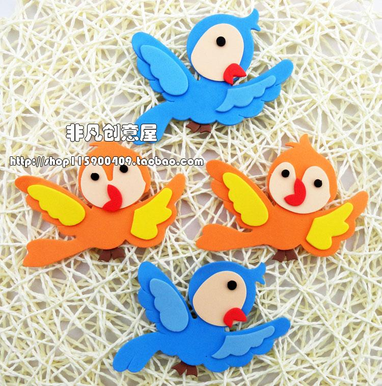 Kindergarten Classroom Wall Decorations Scene Layout Environment Decoration Foam Flower Stickers EVA Bird Patch Flowers