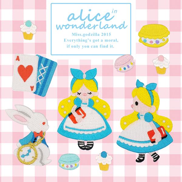 Ms  Godzilla exclusive! Original illustration embroidery stickers Cloth  stickers Alice in Wonderland Set