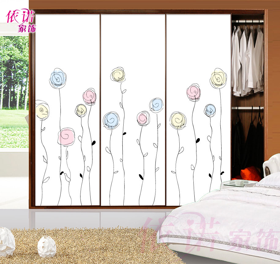 Wardrobe Glass Sliding Door Stickers Made Bathroom Opaque Sketch Flower Ball