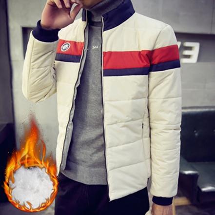 冬季短款羽绒棉服男士时尚修身棉衣青少年韩版纯色立领加厚外套潮