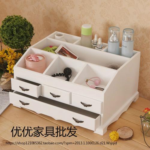 【天天特价】桌面收纳盒木质桌上收纳盒抽屉创意化妆品首饰储物盒