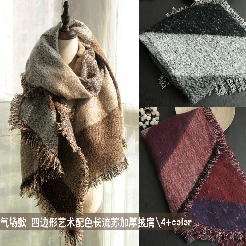 恒源祥女士羊毛大披肩秋冬季加厚经典格子纯羊毛围巾披肩两用超长