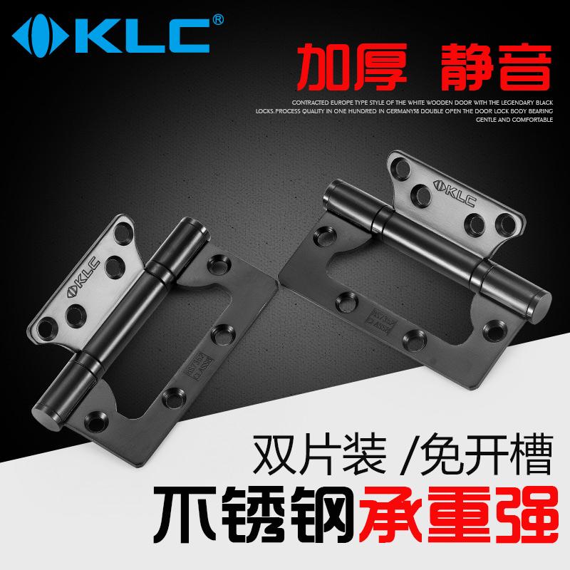 KLC不銹鋼軸承子母合頁免開槽4英寸靜音子母鉸鏈活頁黑色2片裝