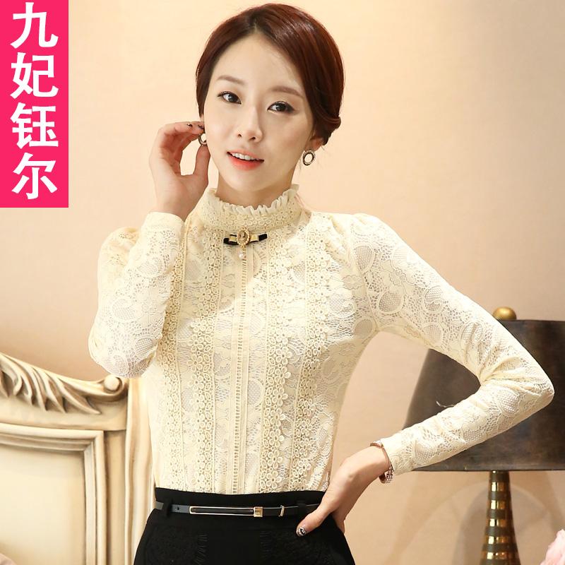 Водолазка рубашка кружево свитер женщина с длинными рукавами плюс бархат осень и зима куртка воротник большой двор тонкий мама . кружево рубашка