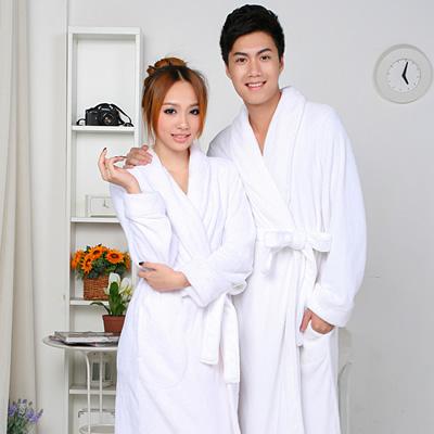秋冬季男女绒和睡衣白色料毛巾睡袍珊瑚纯棉酒店宾馆纯浴袍情侣