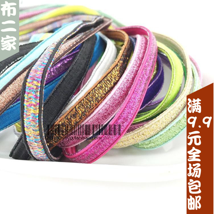 Colored bright silk flat thick wide head flower rubber band rope loose tight belt hair trim leather band accessories elastic decorative shoelace strap rubber