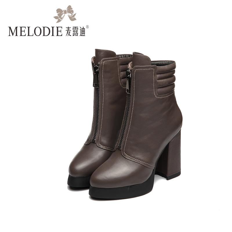 2014秋冬季新款女靴真皮中跟短靴单靴子大码棉靴加绒女鞋子40-43
