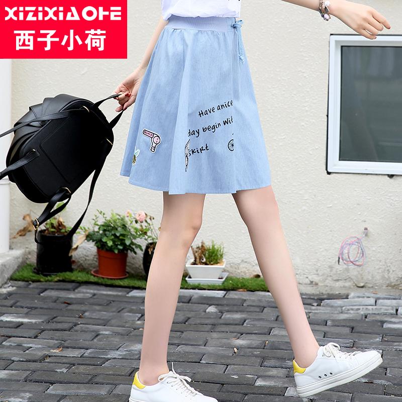 西子小荷半身短裙少女裙夏季2019新款韩版显瘦高腰a字牛仔学生女