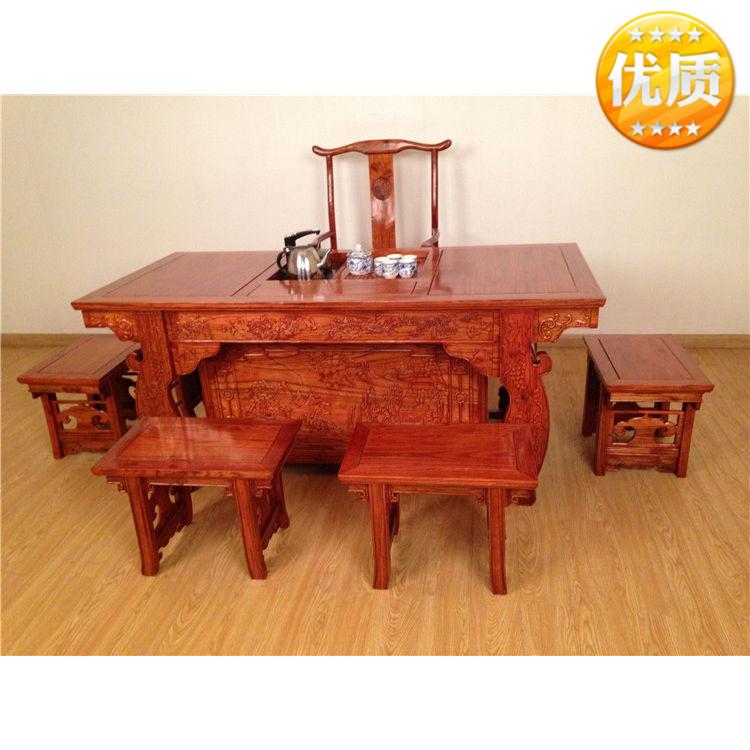 仿古实木桌椅南将军中式功夫茶台茶桌茶茶艺v桌椅明清古典榆木台