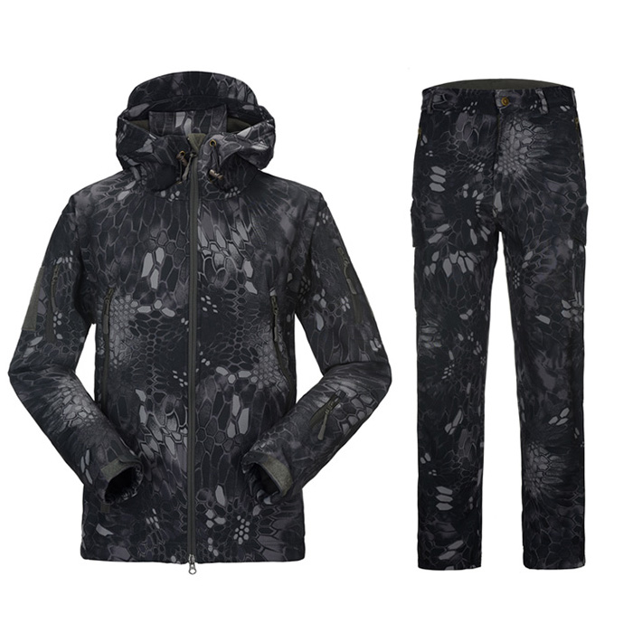 bccd60ca4bd6c ... models wear-resistant non-stick grass buckle Police black python  pattern camouflage jacket pants men's waterproof suit mountaineering hunting  clothing