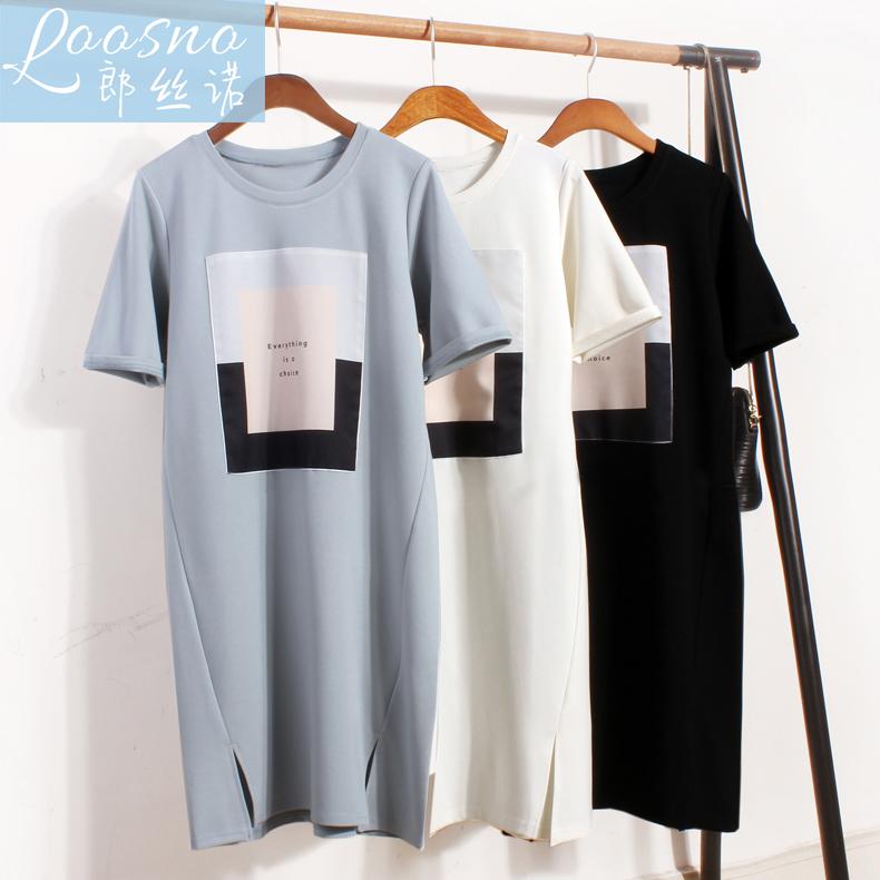 Корейский шахин с короткими рукавами длина T футболки платье женщин случайный свободный хлопок трещина удлинять сочувствовать следующий одежда потерять трек