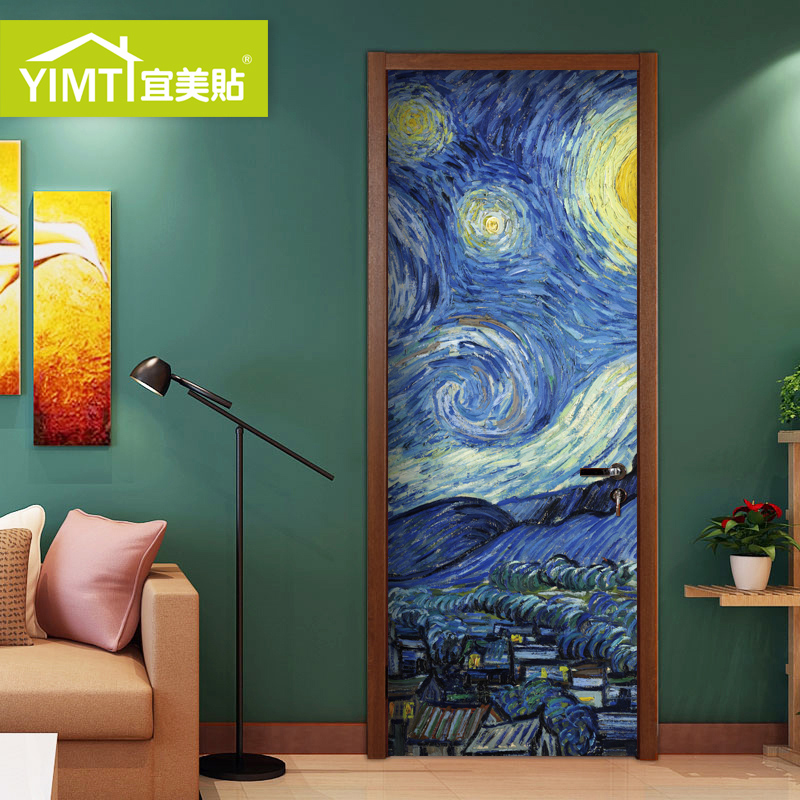 Bedroom Door Sticker Decorative Wood Wall Stickers Classic Oil Painting  Push Pull Door Sticker Self Adhesive Creative Renovation Door Stickers