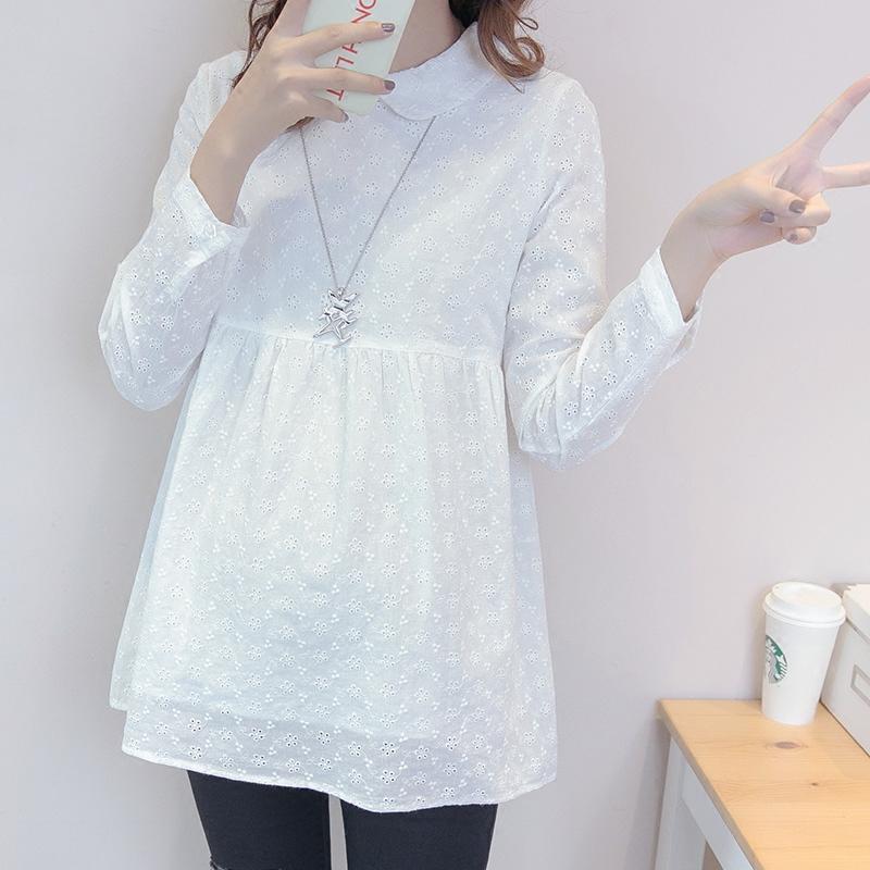 Беременная женщина рубашка новая весна и лето с длинными рукавами куртка длина корейский свободный кукла рубашка мода отворот белая рубашка