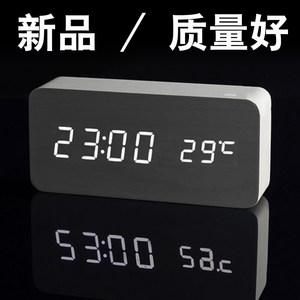 木村闹钟创意静音现代夜光电子时钟时尚木头钟表座钟个性学生床头