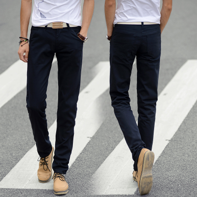 2017 spring and autumn plus velvet men's casual pants male Korean version of the straight Slim youth Fleece warm men's trousers tide